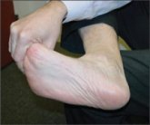 This is a great plantar fascia stretch.  Approved use www.hep2go.com