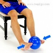 Static Inversion with a ball for ankle strengthening.  Approved use www.hep2go.com