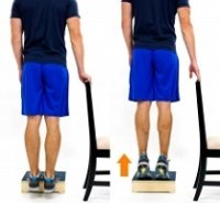 Standing calf raises on a step.  Approved use www.hep2go.com