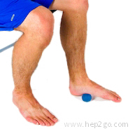 Rolling your foot over a small ball to stretch the plantar fascia.  Approved use www.hep2go.com