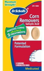 Chemical plasters or patches can be used to treat foot corns