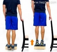 Calf strengthening exercises help to restore full function and prevent recurrence of retrocalcaneal bursitis. Approved use hep2go.com