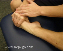 Foot pull ankle stretch to increase plantarflexion.  Approved use www.hep2go.com