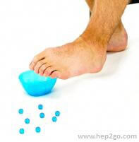 Picking up marbles with your toes is a fun plantar fasciitis exercise.  Approved use by www.hep2go.com