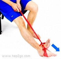 Theraband resitance band is a great tool for improving strength of the foot and ankle.  Approved use by www.hep2go.com