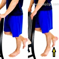 Single calf raises are great calf exercises.  Approved use www.hep2go.com