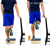 Calf exercises on a step - great for strengthening.  Approved use www.hep2go.com