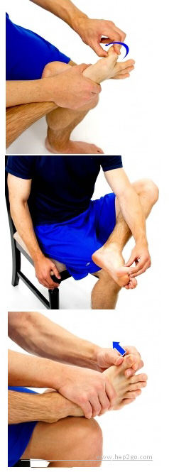Toe stretches to improve movement and reduce stiffness in the toes.  Approved use www.hep2go.com