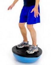 A wobble board is a great way to improve proprioception and reduce the risk of ankle sprains