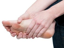 Cramp in the calf or feet are common foot pain symptoms