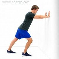 Gastrocnemius stretch can help relieve heel pain.  Approved use www.hep2go.com