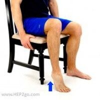 Seated heel raises are a good exercise for those just starting a calf workout. Approved use www.hep2go.com
