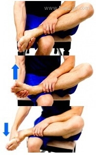 Ankle stretches to improve the twisting movements of the foot, inversion and eversion.  Approved use www.hep2go.com
