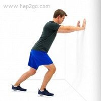 Soleus heel stretch.  Approved use www.hep2go.com