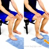 Towel scrunches are my favourite of the plantar fasciitis exercises.  Approved use by www.hep2go.com