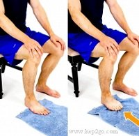 Scrunching up a towel with your feet helps to strengthen the foot muscles